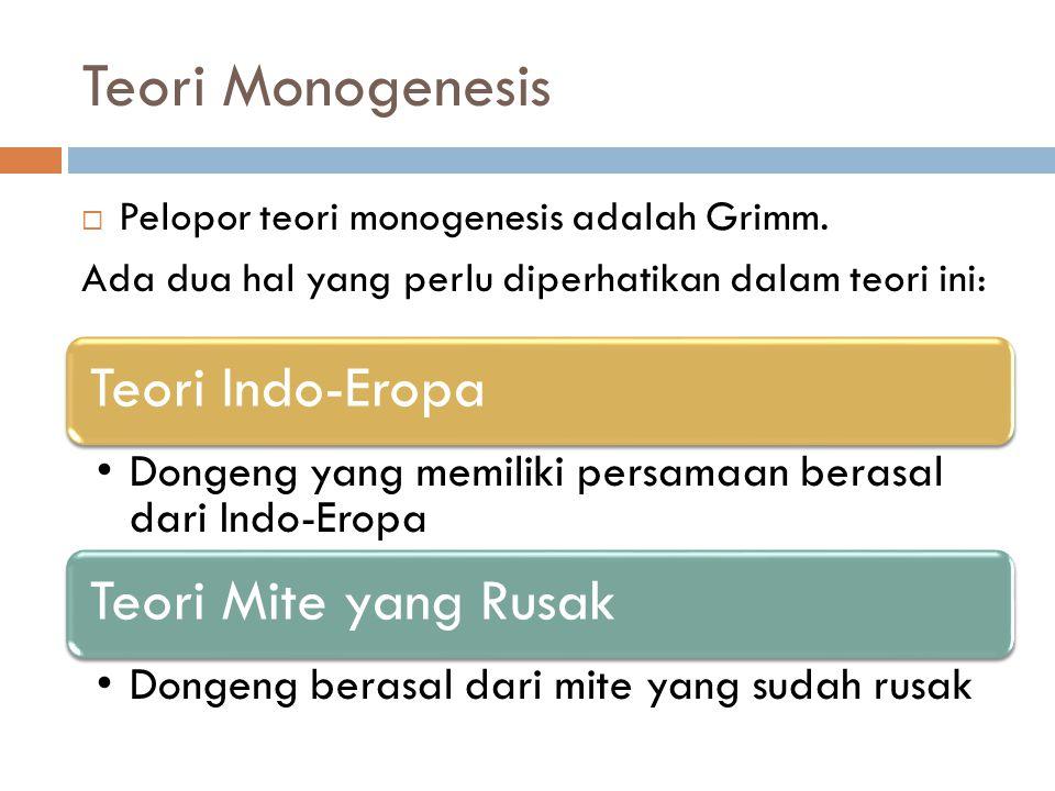 Teori Monogenesis  Pelopor teori monogenesis adalah Grimm. Ada dua hal yang perlu diperhatikan dalam teori ini: Teori Indo-Eropa Dongeng yang memilik