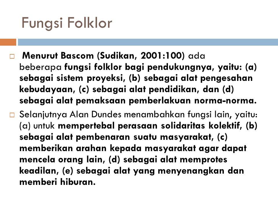 Fungsi Folklor  Menurut Bascom (Sudikan, 2001:100) ada beberapa fungsi folklor bagi pendukungnya, yaitu: (a) sebagai sistem proyeksi, (b) sebagai ala