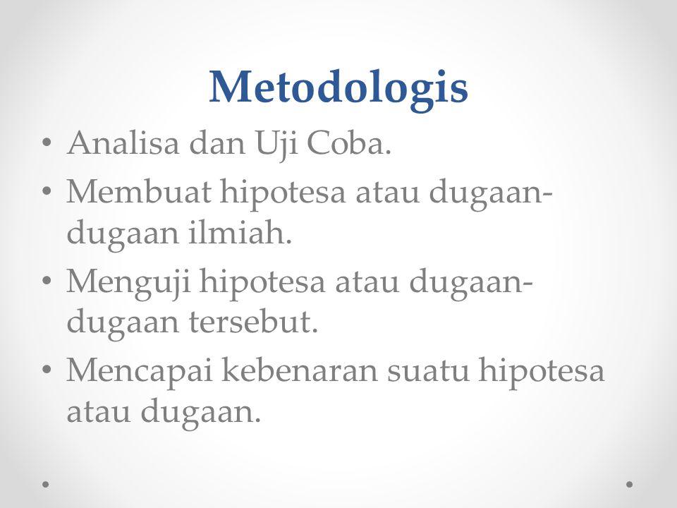 Metodologis Analisa dan Uji Coba.Membuat hipotesa atau dugaan- dugaan ilmiah.