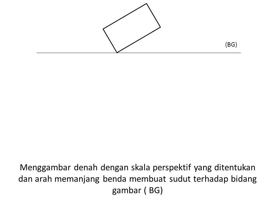 Menggambar denah dengan skala perspektif yang ditentukan dan arah memanjang benda membuat sudut terhadap bidang gambar ( BG) (BG)