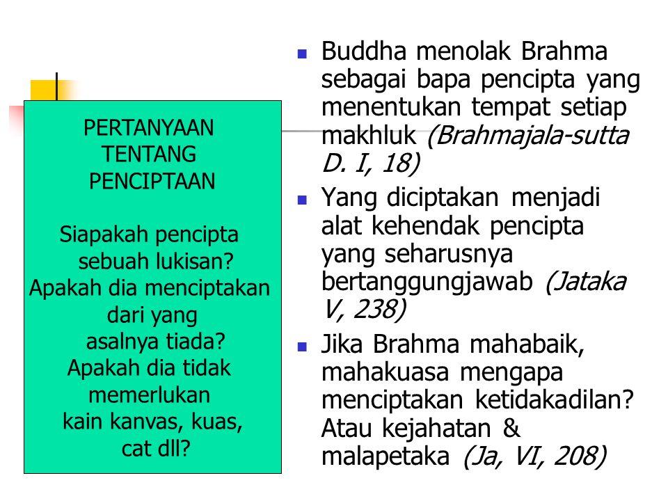 Buddha menolak Brahma sebagai bapa pencipta yang menentukan tempat setiap makhluk (Brahmajala-sutta D.