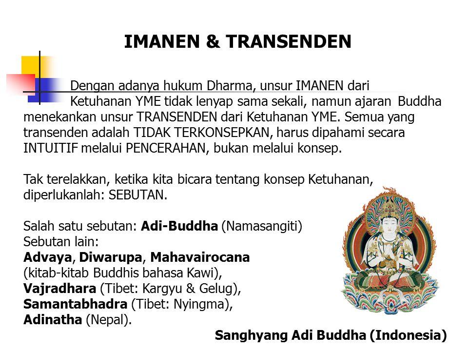Dengan adanya hukum Dharma, unsur IMANEN dari Ketuhanan YME tidak lenyap sama sekali, namun ajaran Buddha menekankan unsur TRANSENDEN dari Ketuhanan YME.