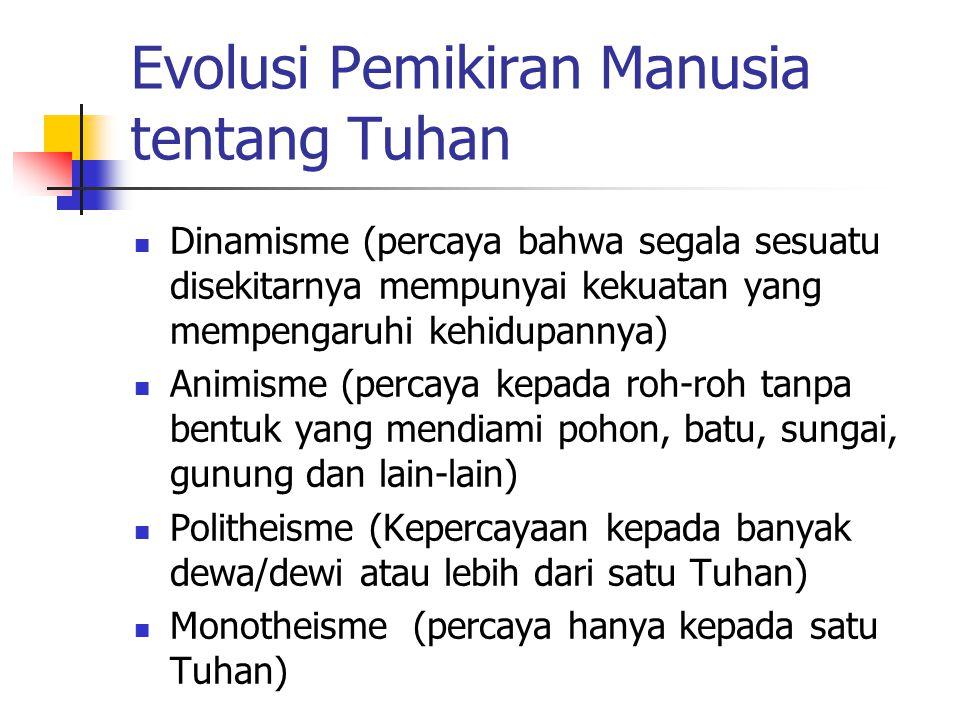 Evolusi Pemikiran Manusia tentang Tuhan Dinamisme (percaya bahwa segala sesuatu disekitarnya mempunyai kekuatan yang mempengaruhi kehidupannya) Animisme (percaya kepada roh-roh tanpa bentuk yang mendiami pohon, batu, sungai, gunung dan lain-lain) Politheisme (Kepercayaan kepada banyak dewa/dewi atau lebih dari satu Tuhan) Monotheisme (percaya hanya kepada satu Tuhan)