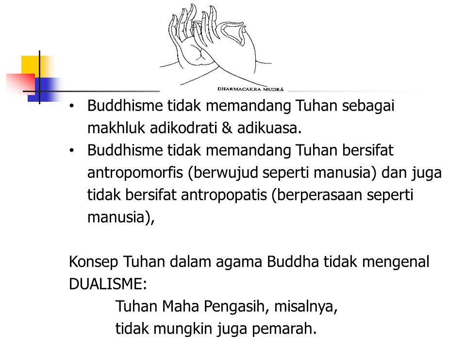 Buddhisme tidak memandang Tuhan sebagai makhluk adikodrati & adikuasa. Buddhisme tidak memandang Tuhan bersifat antropomorfis (berwujud seperti manusi