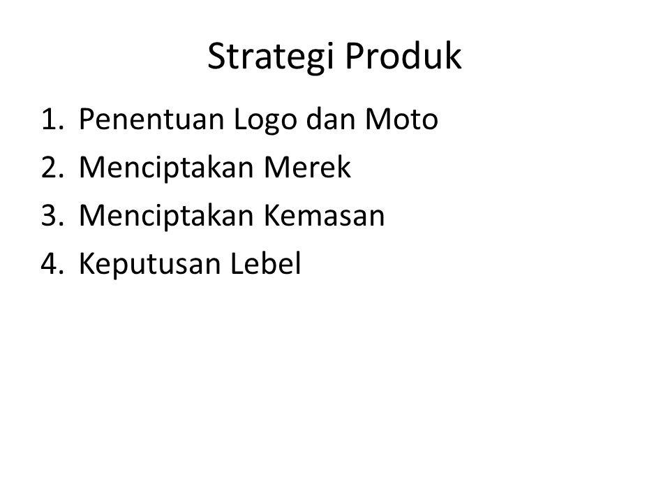 Strategi Produk 1.Penentuan Logo dan Moto 2.Menciptakan Merek 3.Menciptakan Kemasan 4.Keputusan Lebel