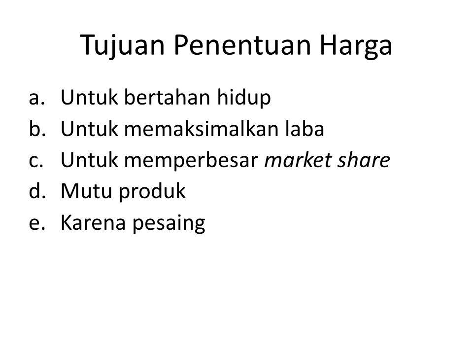 Tujuan Penentuan Harga a.Untuk bertahan hidup b.Untuk memaksimalkan laba c.Untuk memperbesar market share d.Mutu produk e.Karena pesaing