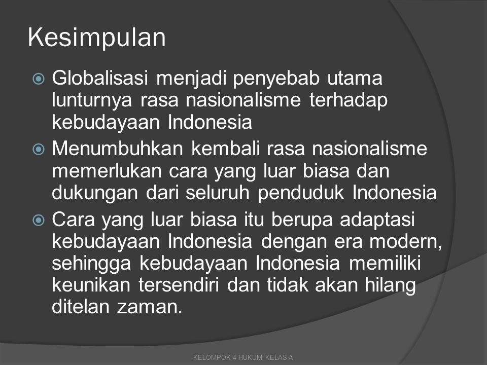 Kesimpulan  Globalisasi menjadi penyebab utama lunturnya rasa nasionalisme terhadap kebudayaan Indonesia  Menumbuhkan kembali rasa nasionalisme meme