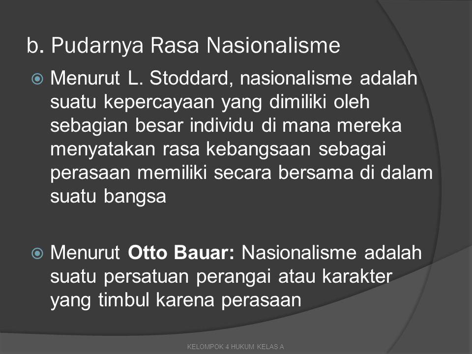  Nasionalisme dalam arti sempit adalah suatu sikap yang meninggikan bangsanya sendiri, sekaligus tidak menghargai bangsa lain sebagaimana mestinya  dalam arti luas, nasionalisme merupakan pandangan tentang rasa cinta yang wajar terhadap bangsa dan negara, dan sekaligus menghormati bangsa lain  Akibat adanya pengaruh globalisasi, sikap nasionalisme atau mencintai dan meninggikan bangsa sendiri dapat hilang KELOMPOK 4 HUKUM KELAS A