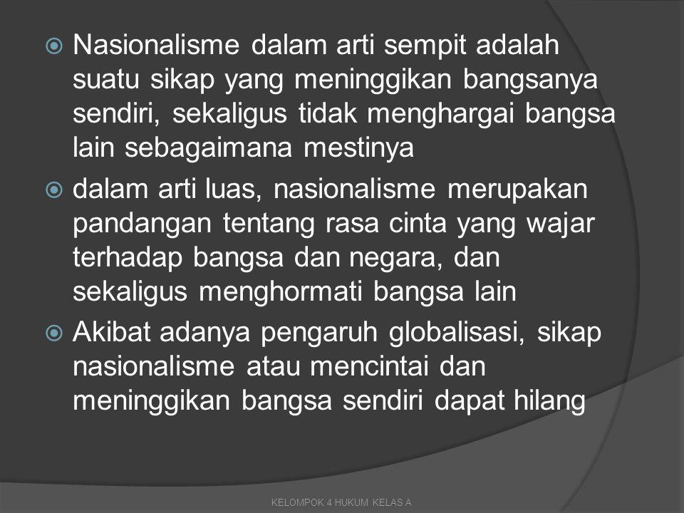  Nasionalisme dalam arti sempit adalah suatu sikap yang meninggikan bangsanya sendiri, sekaligus tidak menghargai bangsa lain sebagaimana mestinya 