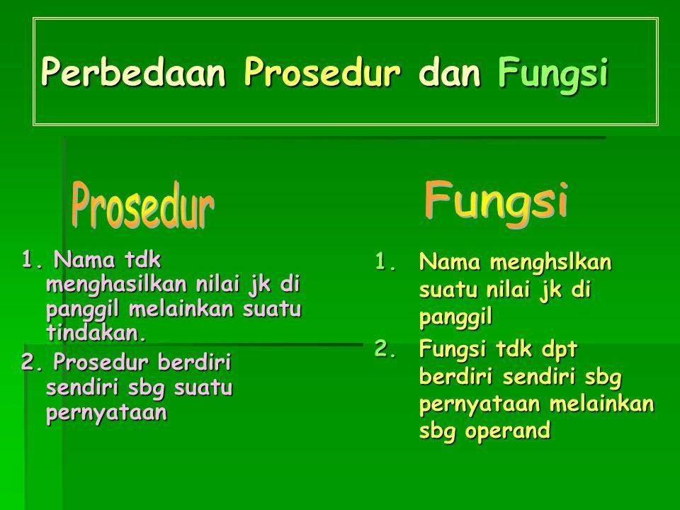 Perbedaan Prosedur dan Fungsi 1.