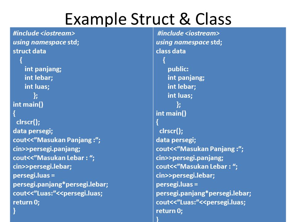 Penggunaan method pada Class // contoh class Crectangle untuk mengukur luas #include using namespace std; class CRectangle { int x, y; public: void set_values (int,int); int area () { return (x*y);} }; void CRectangle::set_values (int a, int b) { x = a; y = b; } int main () { CRectangle rect; rect.set_values (3,4); cout << area: << rect.area(); return 0; } Anggota yang berupa data disebut field dan anggota yang berupa fungsi disebut method.
