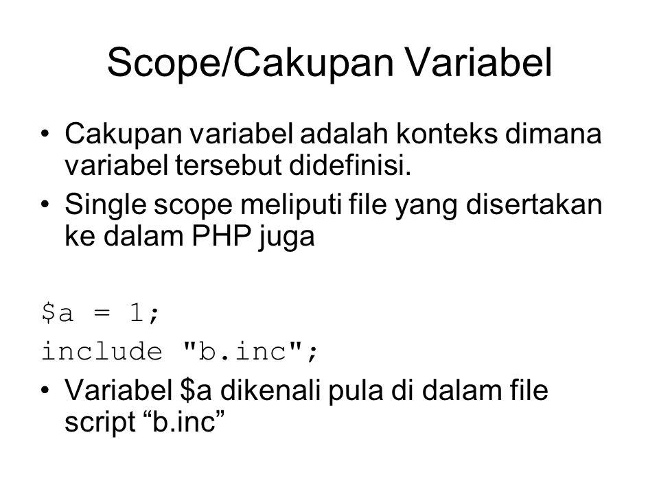 Scope/Cakupan Variabel Cakupan variabel adalah konteks dimana variabel tersebut didefinisi. Single scope meliputi file yang disertakan ke dalam PHP ju