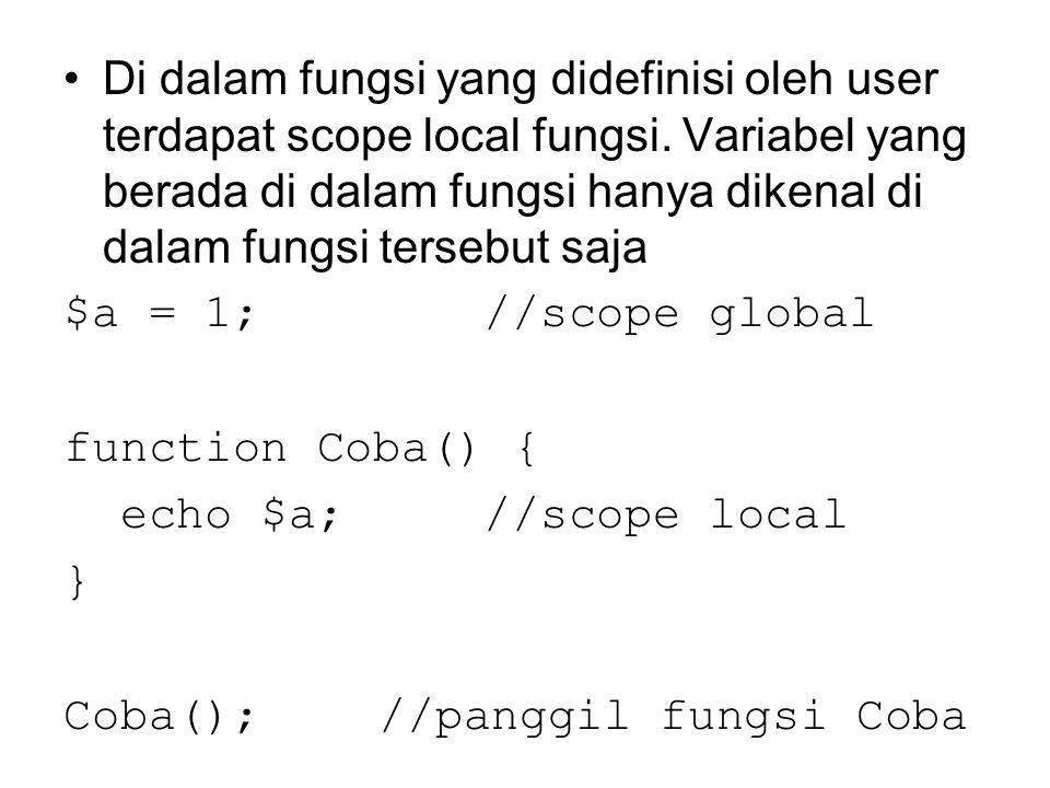 Di dalam fungsi yang didefinisi oleh user terdapat scope local fungsi. Variabel yang berada di dalam fungsi hanya dikenal di dalam fungsi tersebut saj