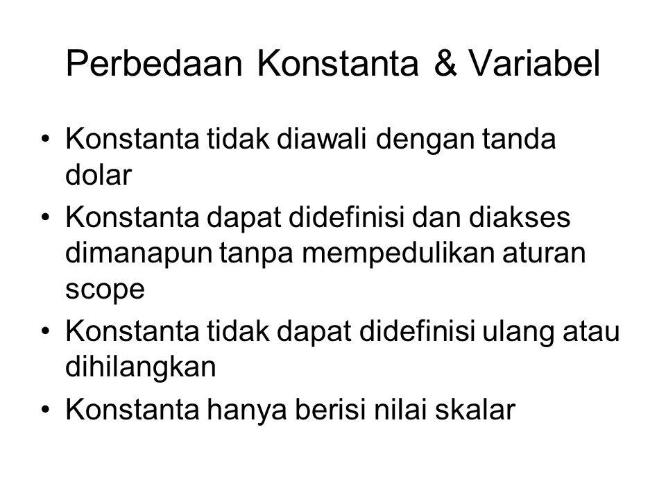 Perbedaan Konstanta & Variabel Konstanta tidak diawali dengan tanda dolar Konstanta dapat didefinisi dan diakses dimanapun tanpa mempedulikan aturan s
