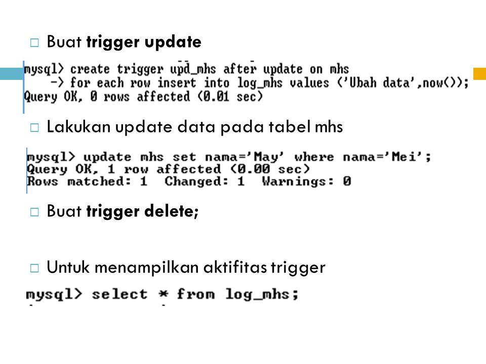  Buat trigger update  Lakukan update data pada tabel mhs  Buat trigger delete;  Untuk menampilkan aktifitas trigger