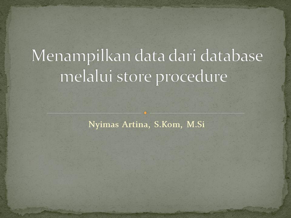 Sub TampilData() ValidasiKontrol(True) objDataTable.Clear() Dim KoneksiKu As New AksesData.KoneksiDatabase DataAdapter = New SqlDataAdapter( Select * From Pegawai ,KoneksiKu.Buka) objDataSet = New DataSet DataAdapter.Fill(objDataSet, TbPegawai ) objDataTable = objDataSet.Tables( TbPegawai ) DGPegawai.DataSource = objDataTable txtNIP.DataBindings.Add( TEXT , objDataTable, NIP ) txtNama.DataBindings.Add( TEXT , objDataTable, NAMA ) DTLahir.DataBindings.Add( VALUE , objDataTable, TGLLAHIR ) txtJalan.DataBindings.Add( TEXT , objDataTable, JALAN ) txtKota.DataBindings.Add( TEXT , objDataTable, KOTA ) txtKodepos.DataBindings.Add( TEXT , objDataTable, KODEPOS ) End Sub Subrutin TampilData berfungsi untuk mengatur DataBinding kontrol dan memanggil sekaligus mengisi nilai True untuk subrutin ValidasiKontrol.