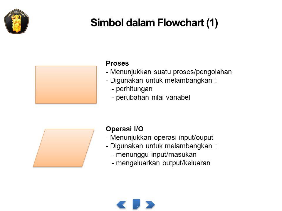 Simbol dalam Flowchart (1) Proses - Menunjukkan suatu proses/pengolahan - Digunakan untuk melambangkan : - perhitungan - perubahan nilai variabel Operasi I/O - Menunjukkan operasi input/ouput - Digunakan untuk melambangkan : - menunggu input/masukan - mengeluarkan output/keluaran