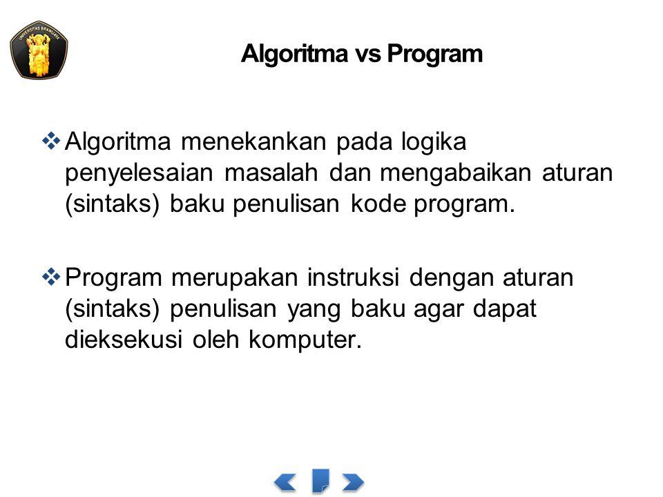 Algoritma vs Program  Algoritma menekankan pada logika penyelesaian masalah dan mengabaikan aturan (sintaks) baku penulisan kode program.  Program m