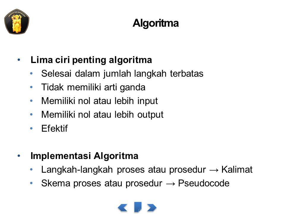 Algoritma Lima ciri penting algoritma Selesai dalam jumlah langkah terbatas Tidak memiliki arti ganda Memiliki nol atau lebih input Memiliki nol atau lebih output Efektif Implementasi Algoritma Langkah-langkah proses atau prosedur → Kalimat Skema proses atau prosedur → Pseudocode