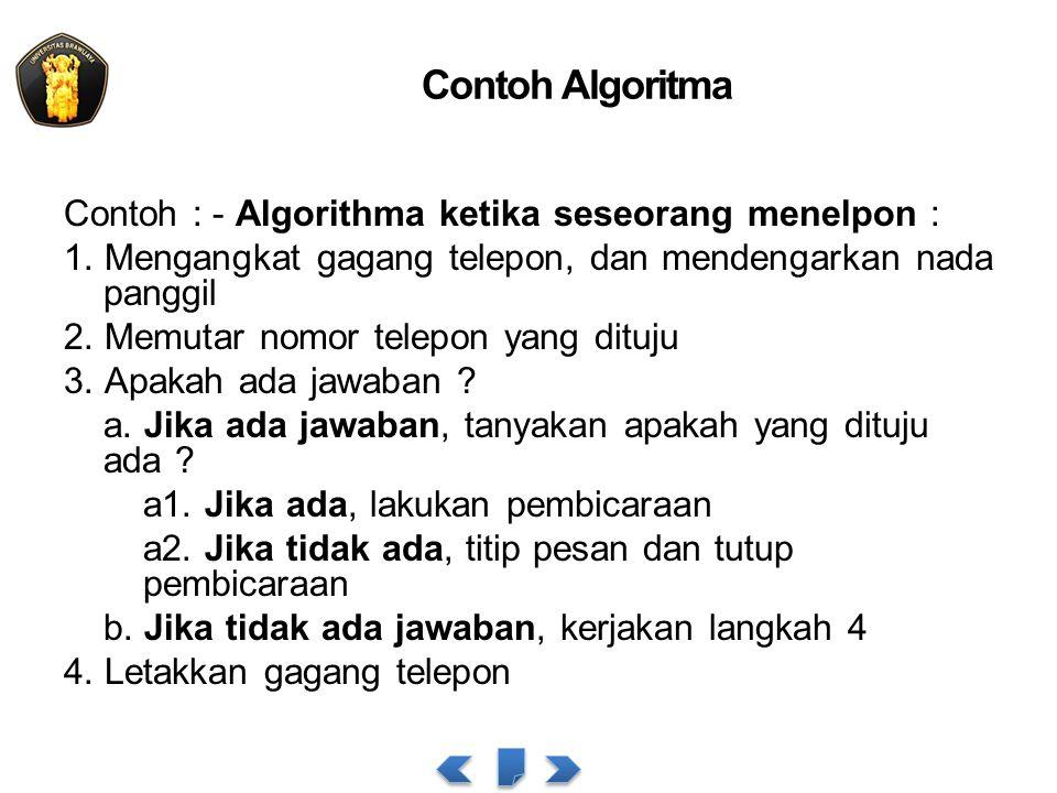 Contoh Algoritma Contoh : - Algorithma ketika seseorang menelpon : 1. Mengangkat gagang telepon, dan mendengarkan nada panggil 2. Memutar nomor telepo