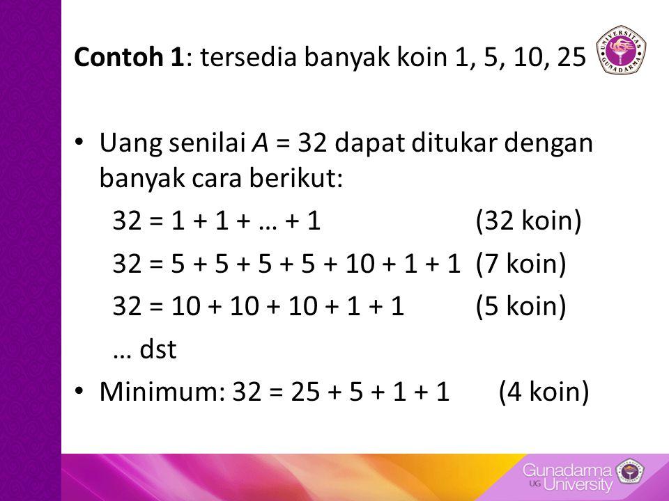 Contoh 1: tersedia banyak koin 1, 5, 10, 25 Uang senilai A = 32 dapat ditukar dengan banyak cara berikut: 32 = 1 + 1 + … + 1 (32 koin) 32 = 5 + 5 + 5 + 5 + 10 + 1 + 1(7 koin) 32 = 10 + 10 + 10 + 1 + 1(5 koin) … dst Minimum: 32 = 25 + 5 + 1 + 1 (4 koin)