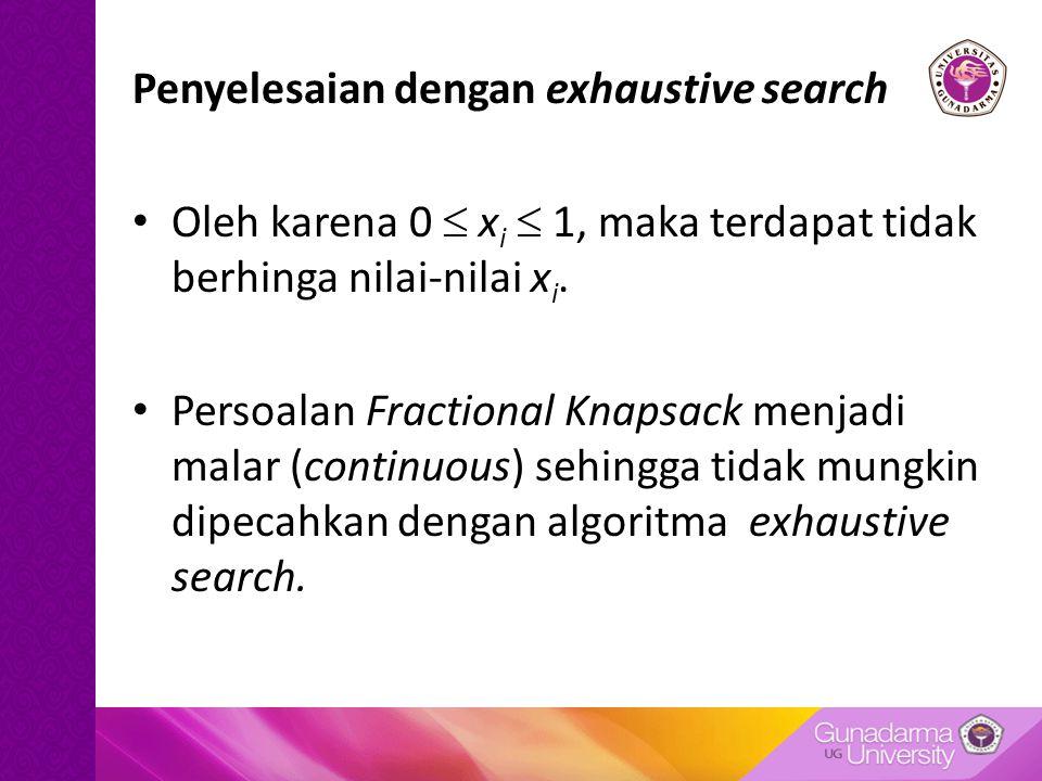 Penyelesaian dengan exhaustive search Oleh karena 0  x i  1, maka terdapat tidak berhinga nilai-nilai x i.