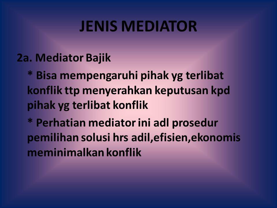 JENIS MEDIATOR 2a. Mediator Bajik * Bisa mempengaruhi pihak yg terlibat konflik ttp menyerahkan keputusan kpd pihak yg terlibat konflik * Perhatian me