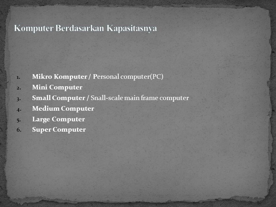 1. Small Scale Computer komputer yang memiliki kemampuan proses dalam jumlah kecil.