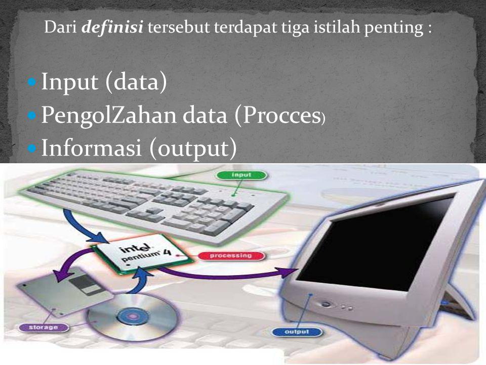 Komputer adalah suatu alat elektronik yang mampu melakukan beberapa tugas, yaitu menerima input, memproses input sesuai dengan instruksi yang diberikan, menyimpan perintah-perintah dan hasil pengolahannya, serta menyediakan output dalam bentuk informasi.