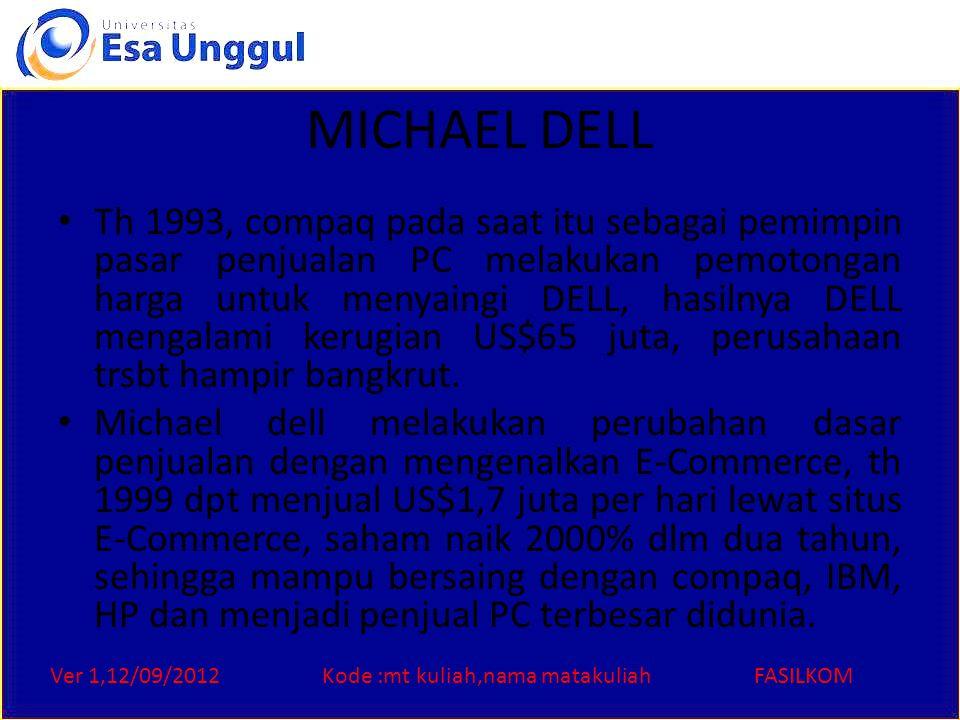 Ver 1,12/09/2012Kode :mt kuliah,nama matakuliahFASILKOM MICHAEL DELL Th 1993, compaq pada saat itu sebagai pemimpin pasar penjualan PC melakukan pemot