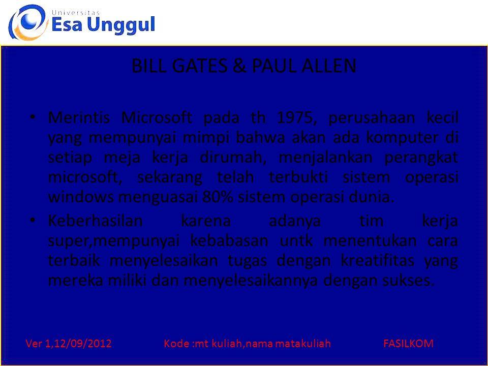 Ver 1,12/09/2012Kode :mt kuliah,nama matakuliahFASILKOM BILL GATES & PAUL ALLEN Merintis Microsoft pada th 1975, perusahaan kecil yang mempunyai mimpi