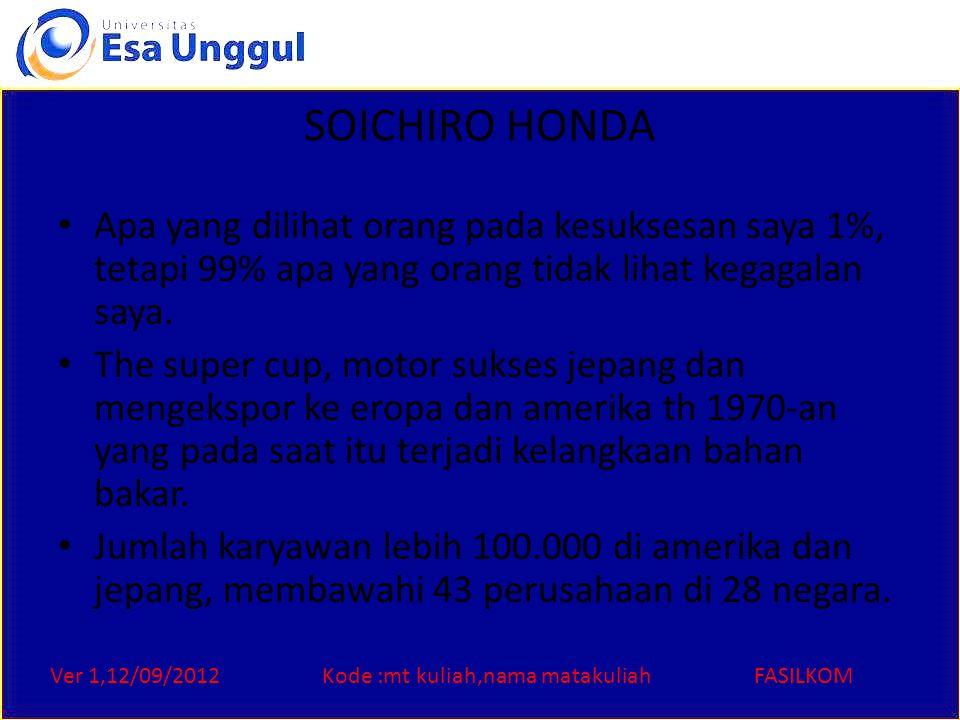 Ver 1,12/09/2012Kode :mt kuliah,nama matakuliahFASILKOM SOICHIRO HONDA Apa yang dilihat orang pada kesuksesan saya 1%, tetapi 99% apa yang orang tidak
