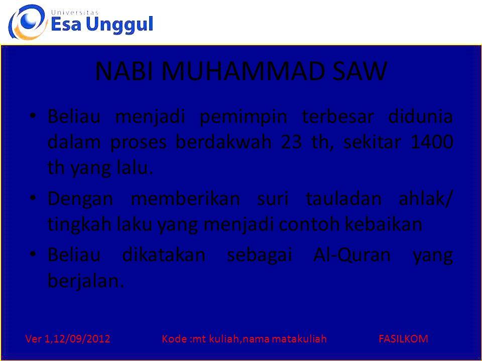Ver 1,12/09/2012Kode :mt kuliah,nama matakuliahFASILKOM NABI MUHAMMAD SAW Beliau menjadi pemimpin terbesar didunia dalam proses berdakwah 23 th, sekitar 1400 th yang lalu.