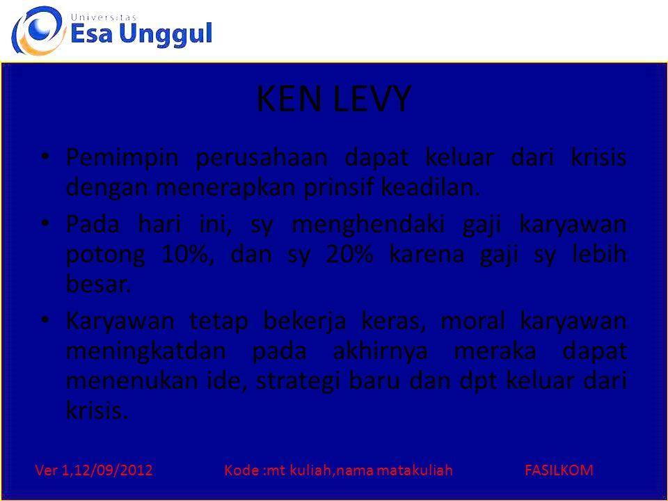 Ver 1,12/09/2012Kode :mt kuliah,nama matakuliahFASILKOM KEN LEVY Pemimpin perusahaan dapat keluar dari krisis dengan menerapkan prinsif keadilan. Pada