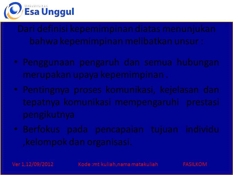 Ver 1,12/09/2012Kode :mt kuliah,nama matakuliahFASILKOM Dari definisi kepemimpinan diatas menunjukan bahwa kepemimpinan melibatkan unsur : Penggunaan