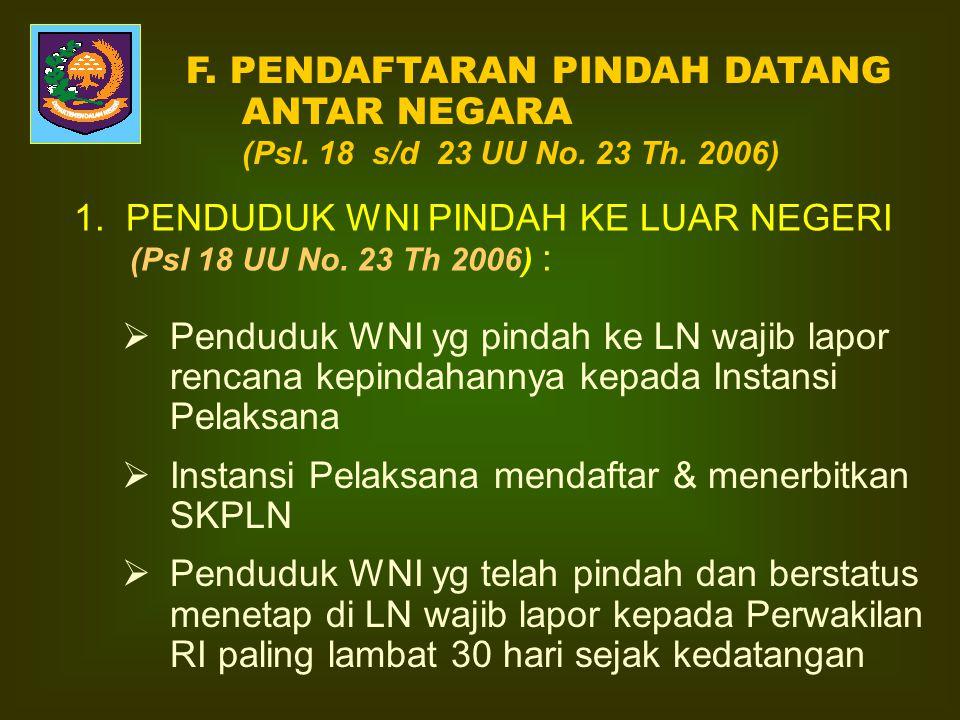 E.LINGKUP PINDAH DATANG ANTAR NEGARA : 1.Penduduk WNI pindah ke LN utk menetap. 2.WNI datang dari luar negeri karena pindah dan menetap di Indonesia.