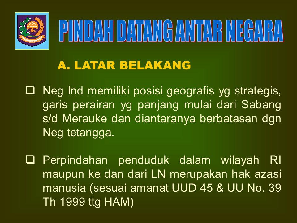 DIREKTORAT PENDAFTARAN PENDUDUK DITJEN. ADMINISTRASI KEPENDUDUKAN Jakarta 2007 PENDAFTARAN PINDAH DATANG ANTAR NEGARA