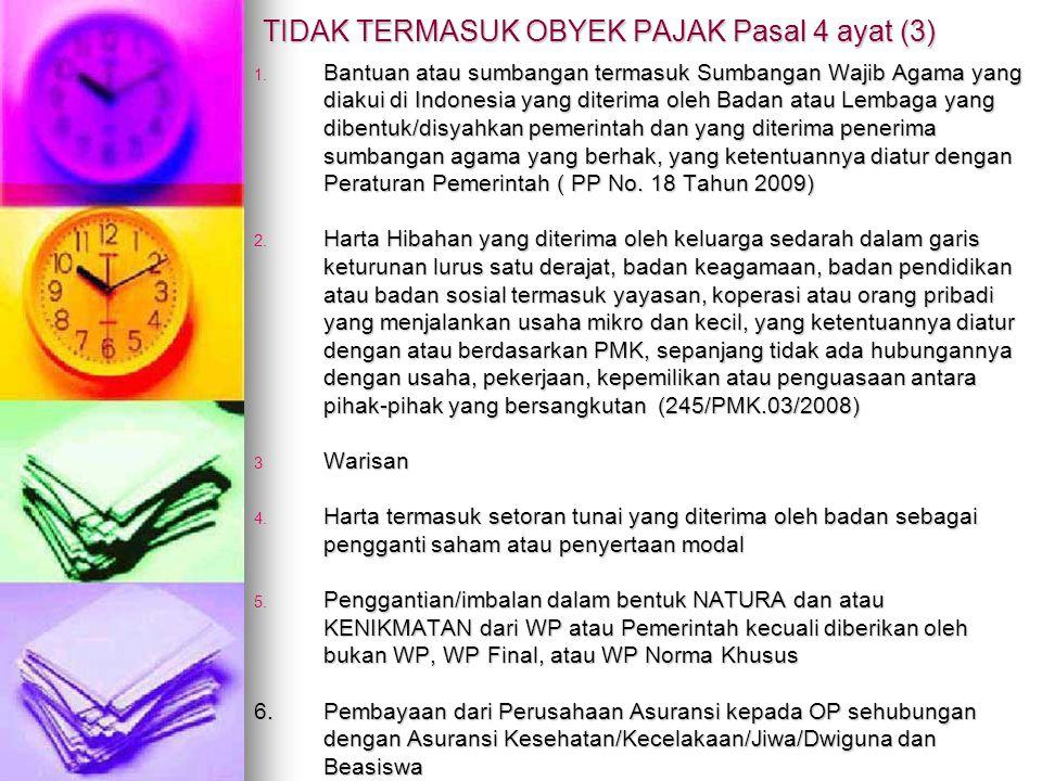 1. Bantuan atau sumbangan termasuk Sumbangan Wajib Agama yang diakui di Indonesia yang diterima oleh Badan atau Lembaga yang dibentuk/disyahkan pemeri