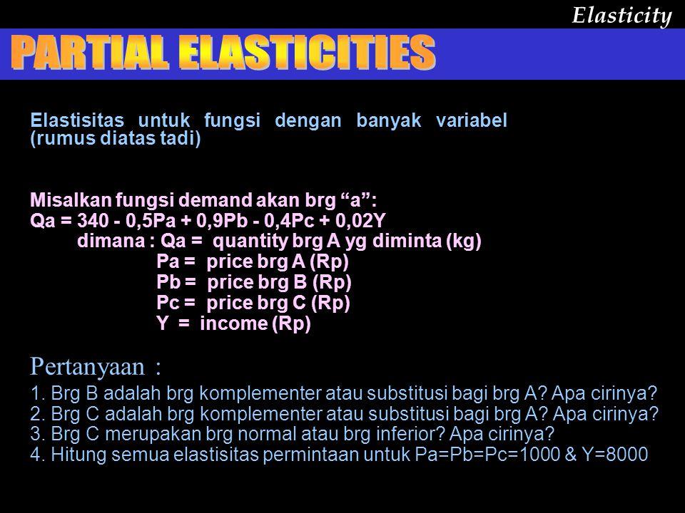 PRICE ED : CROSS ED: INCOME ED : Eqa.pa = %  Qa ------- %  Pa Eqa.pb = Eqa.y = %  Qa ------- %  Y %  Qa -------- %  Pb Elasticity  Qa -----  Pa Pa ---- Qa = x x x = =  Qa -----  Pb Pb ---- Qa Y ---- Qa  Qa -----  Y
