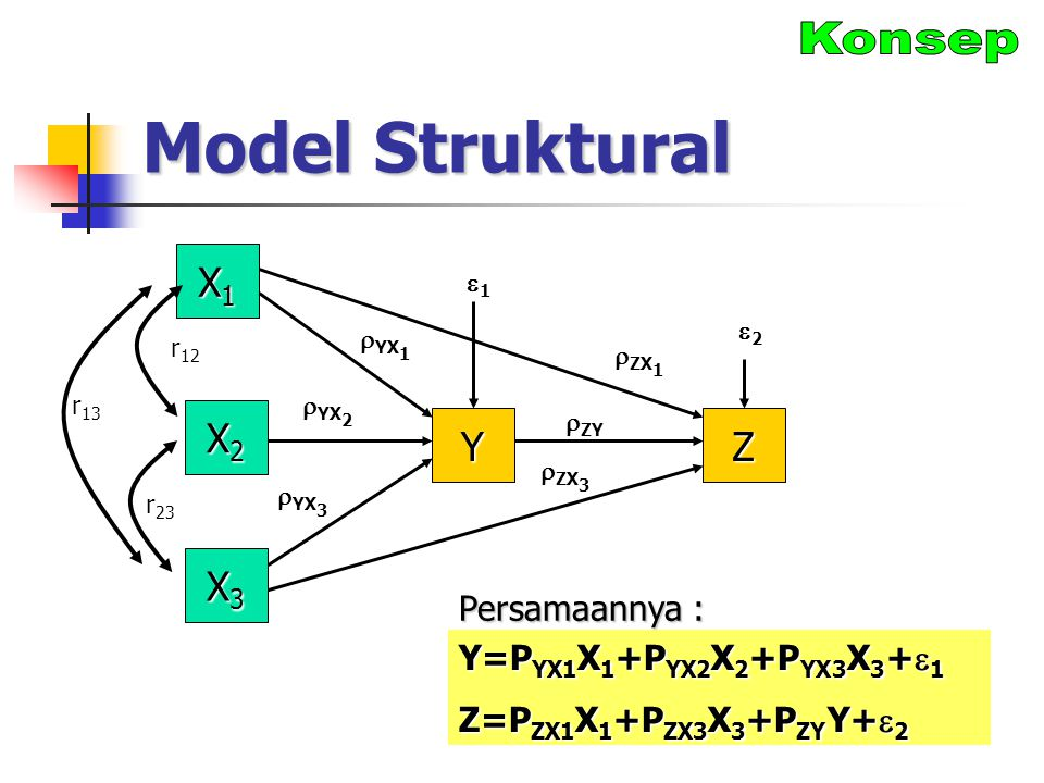 Model Struktural X1X1X1X1 X2X2X2X2 Y r 12  ZX 1  YX 1 22 X3X3X3X3 Z 11  YX 2  ZY  YX 3  ZX 3 r 23 r 13 Y=P YX1 X 1 +P YX2 X 2 +P YX3 X 3 +  1 Z=P ZX1 X 1 +P ZX3 X 3 +P ZY Y+  2 Persamaannya :