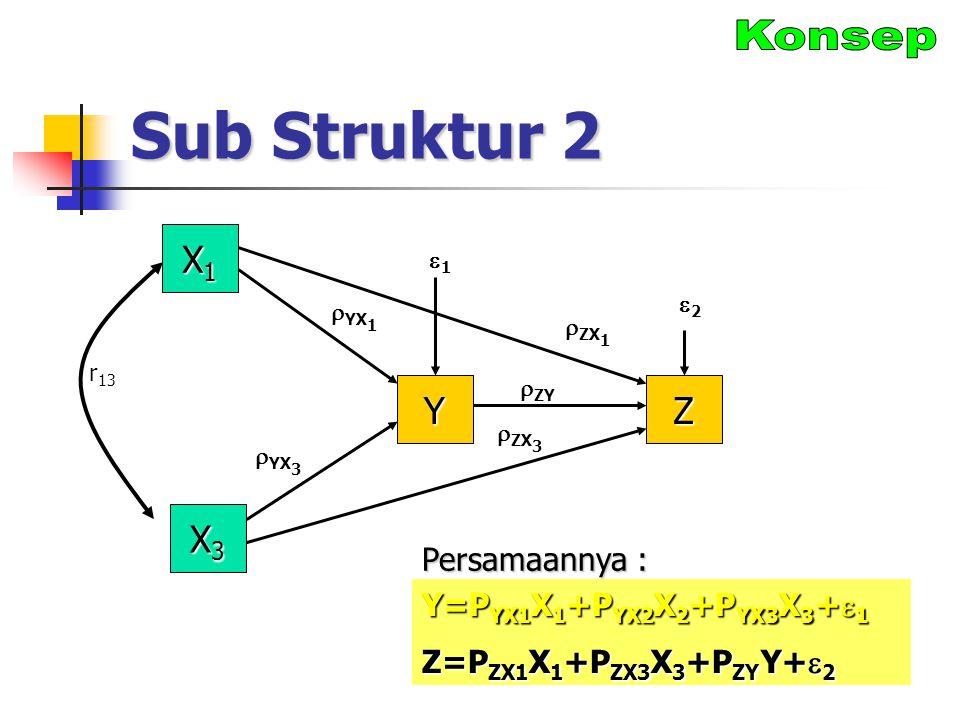 Sub Struktur 2 X1X1X1X1 Y  ZX 1  YX 1 22 X3X3X3X3 Z 11  ZY  YX 3  ZX 3 r 13 Y=P YX1 X 1 +P YX2 X 2 +P YX3 X 3 +  1 Z=P ZX1 X 1 +P ZX3 X 3 +P