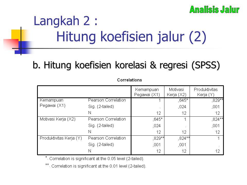 Langkah 2 : Hitung koefisien jalur (2) b. Hitung koefisien korelasi & regresi (SPSS)