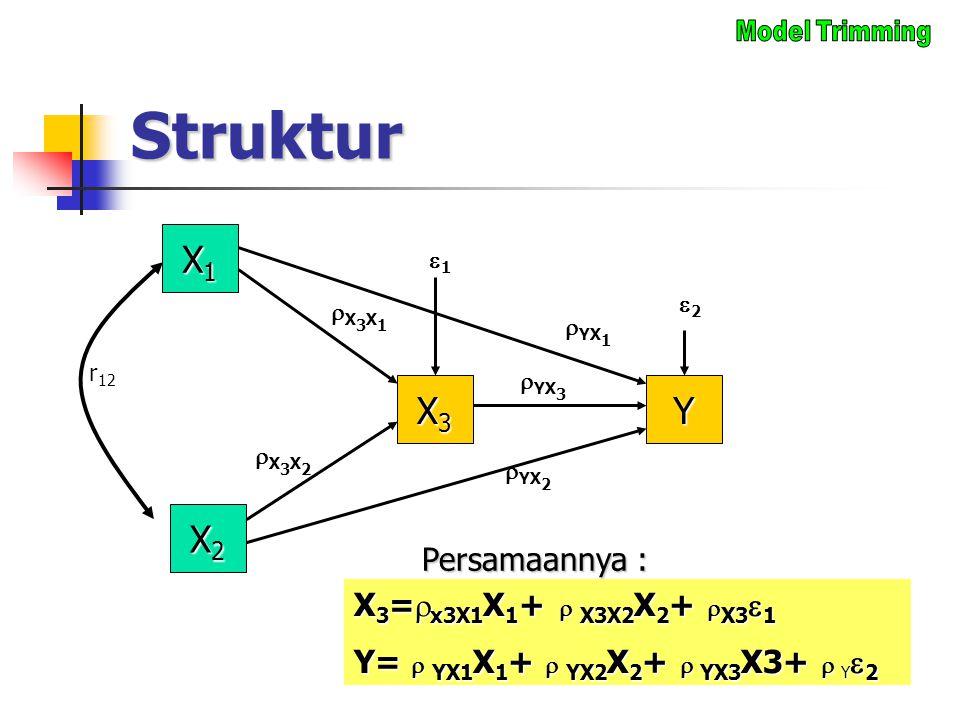 Struktur X1X1X1X1 X3X3X3X3  YX 1 X3X1X3X1 22 X2X2X2X2 Y 11  YX 3  YX 2 r 12 X 3 =  x3X1 X 1 +  X3X2 X 2 +  X3  1 Y=  YX1 X 1 +  YX2 X 2
