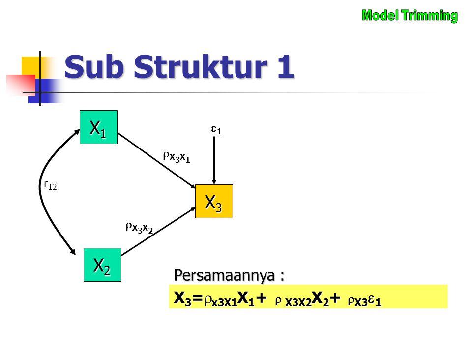 Sub Struktur 1 X1X1X1X1 X3X3X3X3 X3X1X3X1 X2X2X2X2 11 r 12 X 3 =  x3X1 X 1 +  X3X2 X 2 +  X3  1 Persamaannya : X3X2X3X2