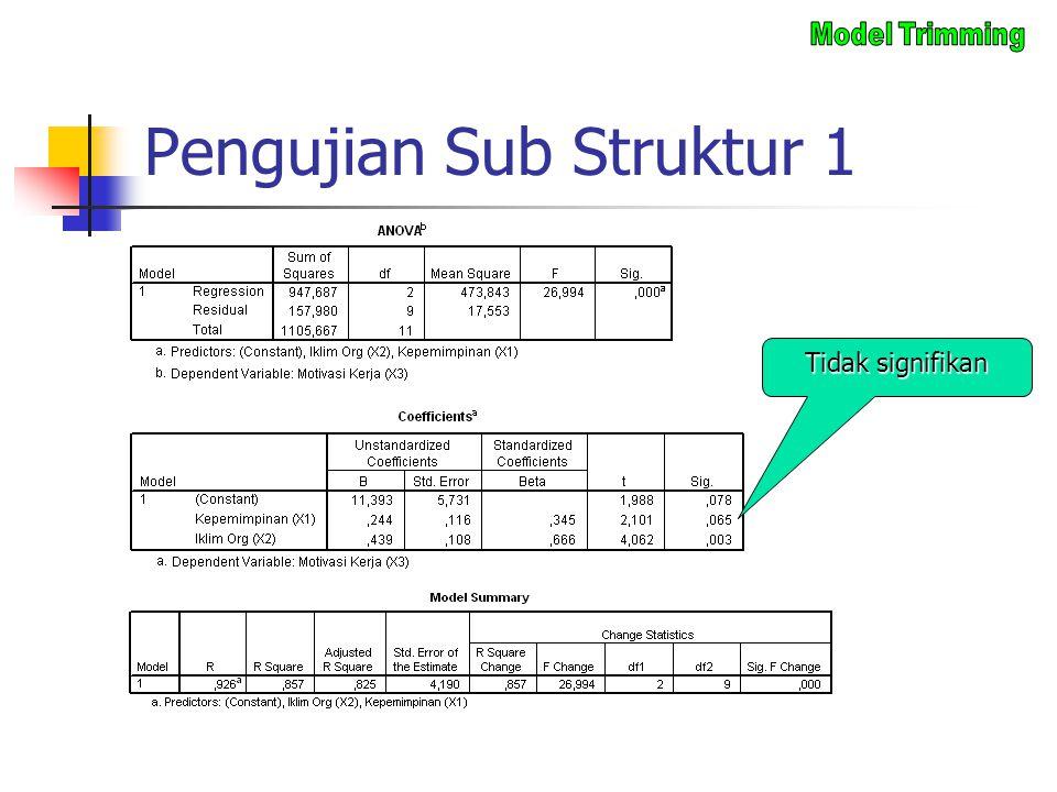 Pengujian Sub Struktur 1 Tidak signifikan