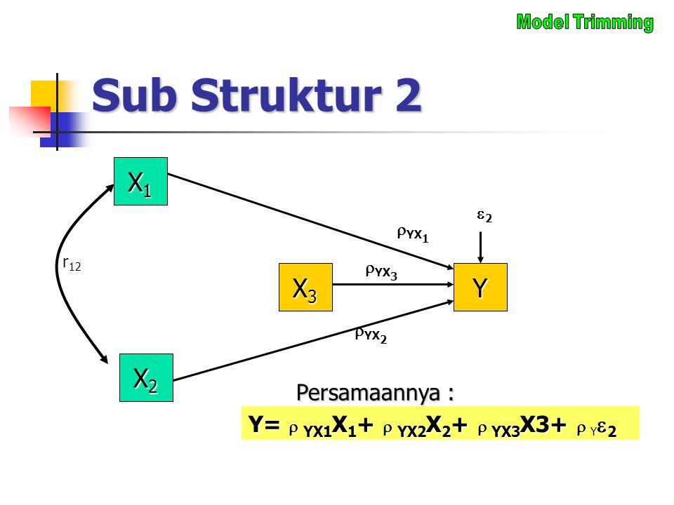Sub Struktur 2 X1X1X1X1 X3X3X3X3  YX 1 22 X2X2X2X2 Y  YX 3  YX 2 r 12 Y=  YX1 X 1 +  YX2 X 2 +  YX3 X3+  Y  2 Persamaannya :