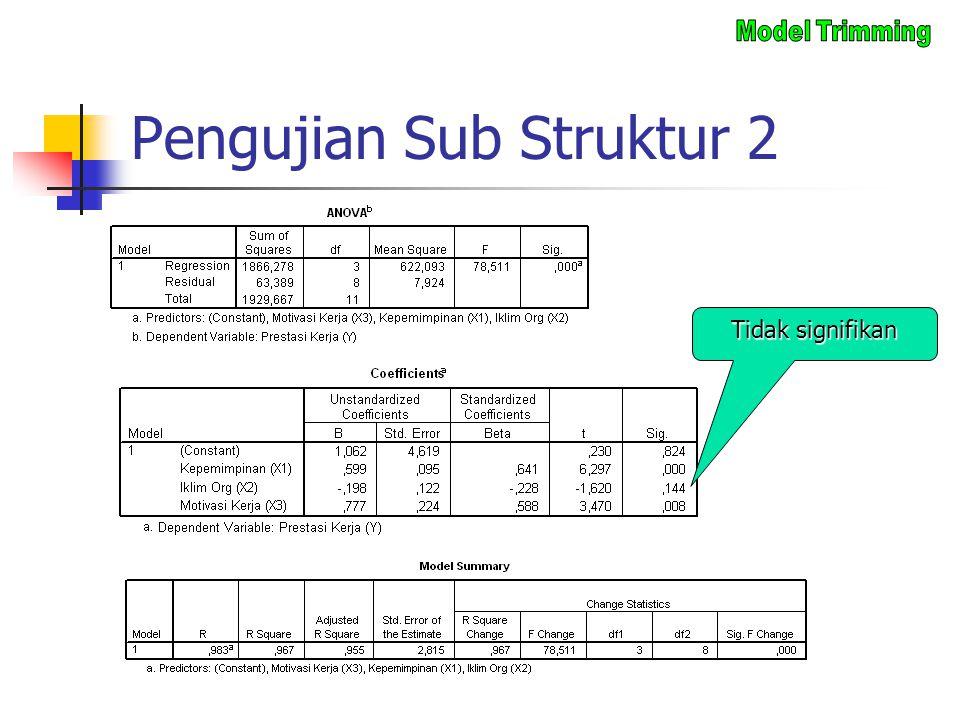 Pengujian Sub Struktur 2 Tidak signifikan