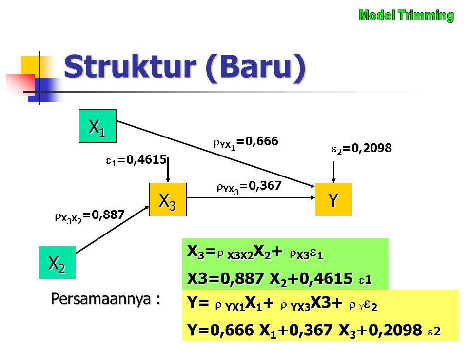Struktur (Baru) X1X1X1X1 X3X3X3X3  YX 1 =0,666  2 =0,2098 Y  YX 3 =0,367 Y=  YX1 X 1 +  YX3 X3+  Y  2 Y=0,666 X 1 +0,367 X 3 +0,2098  2 Persam