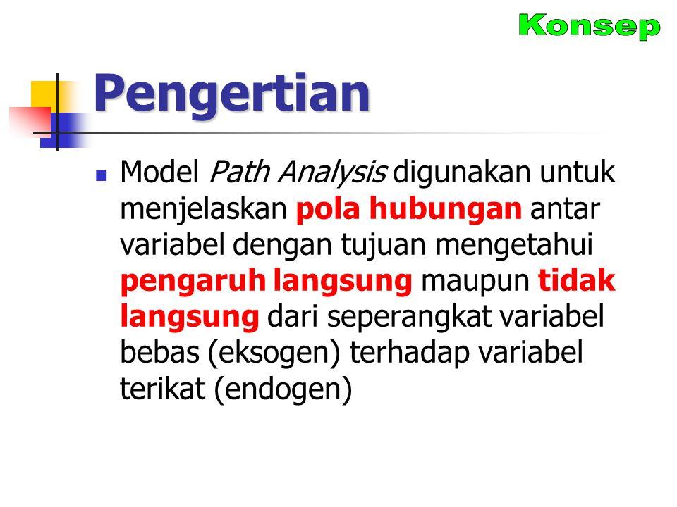 Pengertian Model Path Analysis digunakan untuk menjelaskan pola hubungan antar variabel dengan tujuan mengetahui pengaruh langsung maupun tidak langsu