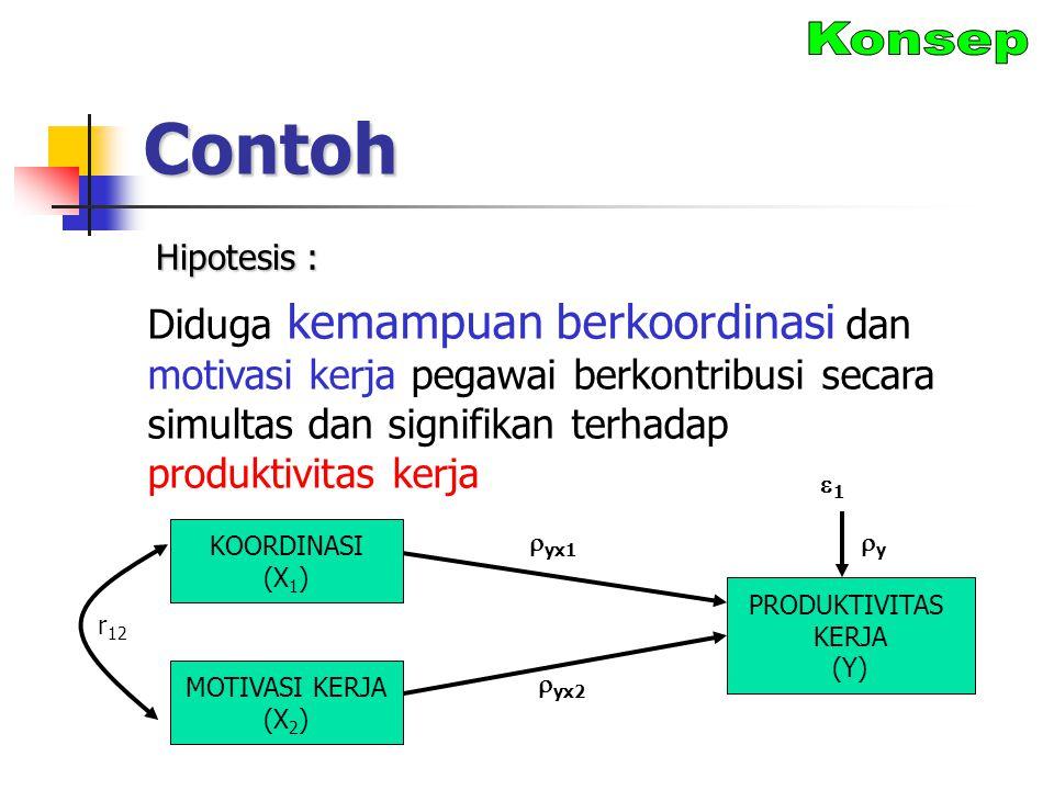 Contoh Diduga kemampuan berkoordinasi dan motivasi kerja pegawai berkontribusi secara simultas dan signifikan terhadap produktivitas kerja KOORDINASI